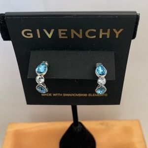 Givenchy Silver Tone Blue Crystal Hoop Earrings